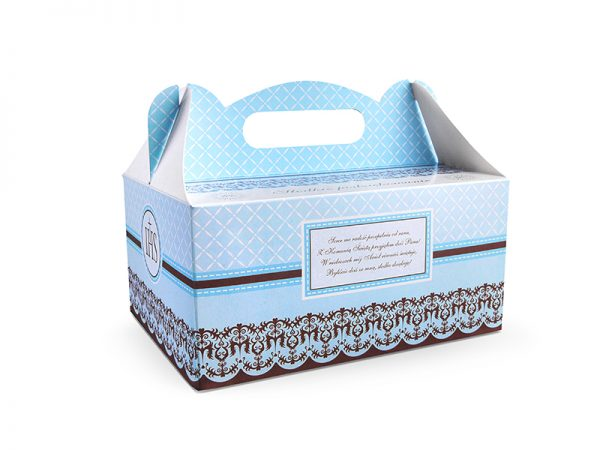 Pudełko komunijne na ciasto niebieskie