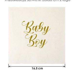 Serwetka papierowa 33x33cm Baby Boy na przyjęcie Baby Shower