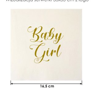 Serwetka papierowa 33x33cm Baby Girl na przyjęcie Baby Shower