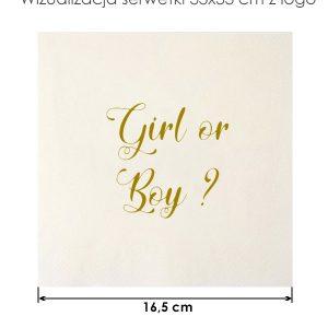 Serwetka papierowa 33x33cm girl or boy na przyjęcie Baby Shower
