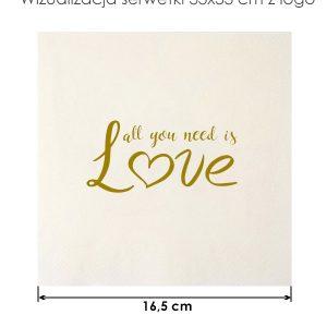 Serwetka papierowa 33x33cm love na przyjęcie Baby Shower